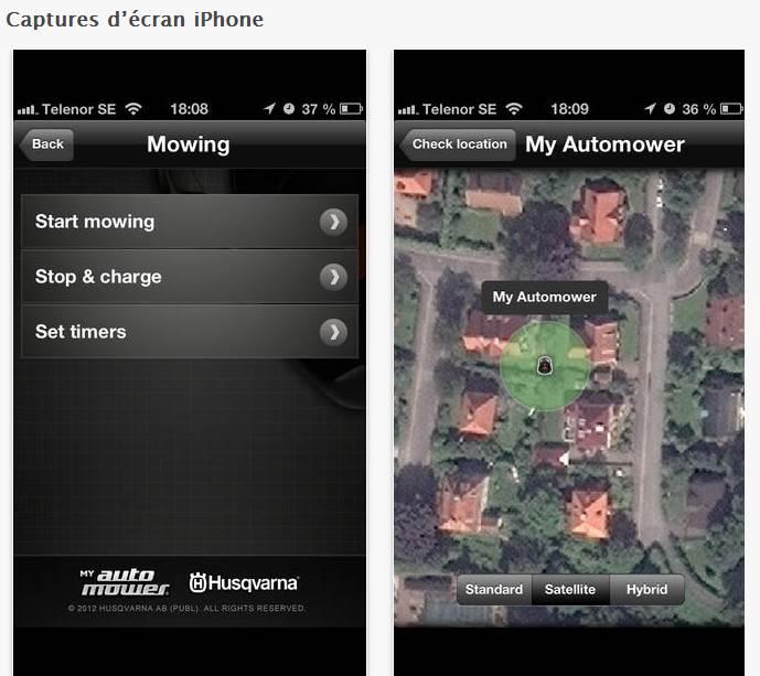 application Husqvarna - capture d'écran