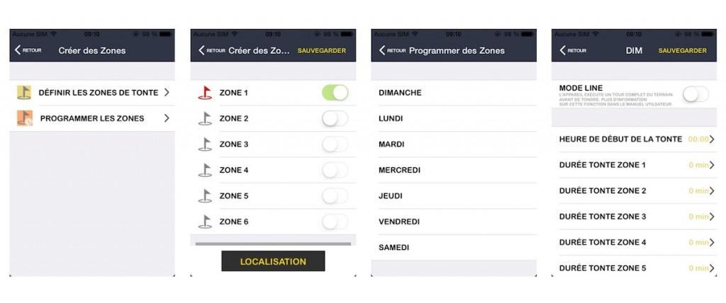 Programmation zones de tonte e.zigreen