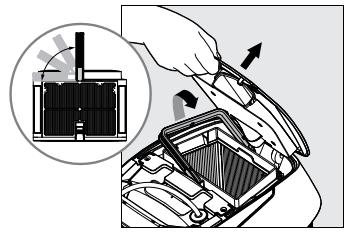 Lors de l'ouverture du couvercle des filtres, la poignée se soulève indépendamment.