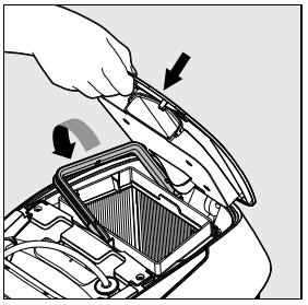 4 - Ré-insérez l'assemblage de filtrage nettoyé et fermez le couvercle
