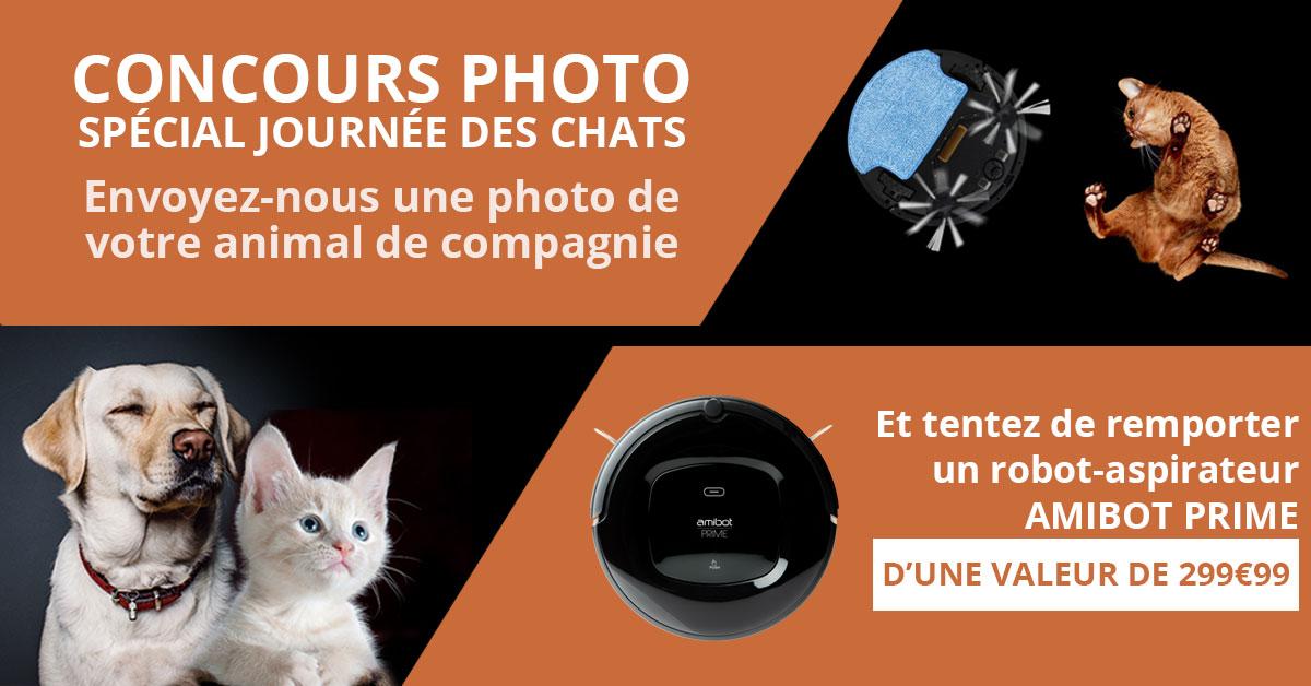 concours photo journée du chat amibot robot aspirateur