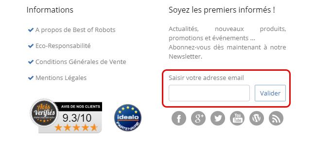 newsletter inscirption best of robots vente privée