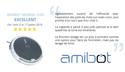 avis client robot aspirateur AMIBOT Animal H2O