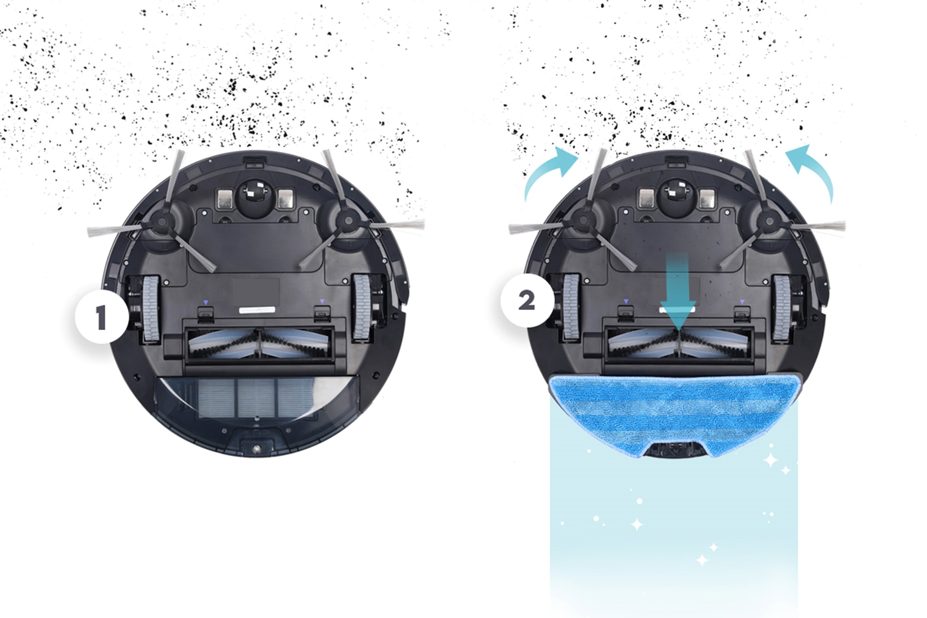 aspirateur robot AMIBOT SPIRIT Ice Laser avec et sans mop de nettoyage