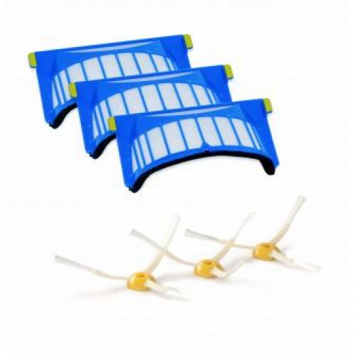 Pack 3 filtres Aerovac + 3 brosses latérales ROOMBA série 564 pet et 6XX, 7XX