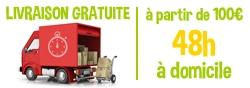 Livraison gratuite, à partir de 100€, 48h à domicile