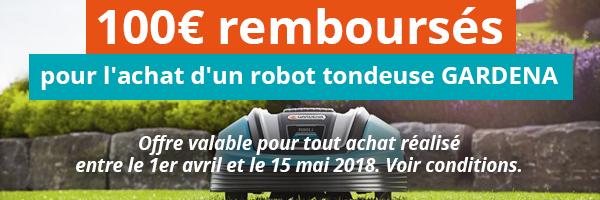 100e rembourse pour l'achat d'un robot tondeuse GARDENA