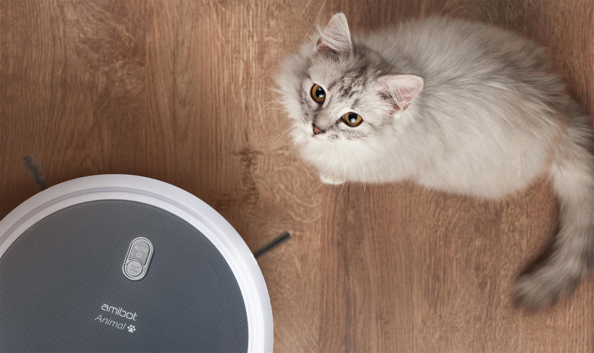 Robot aspirateur et laveur AMIBOT Animal Comfort H2O