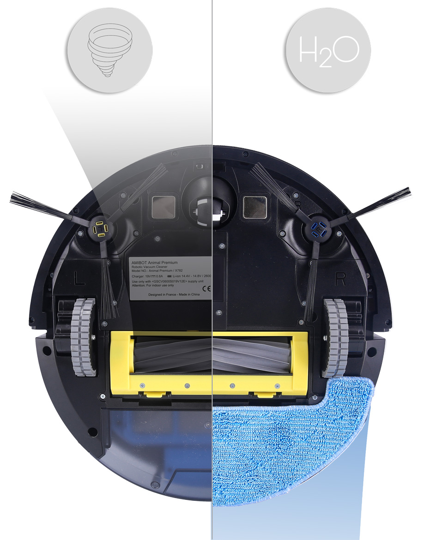 Robot aspirateur et laveur AMIBOT Animal Premium H2O