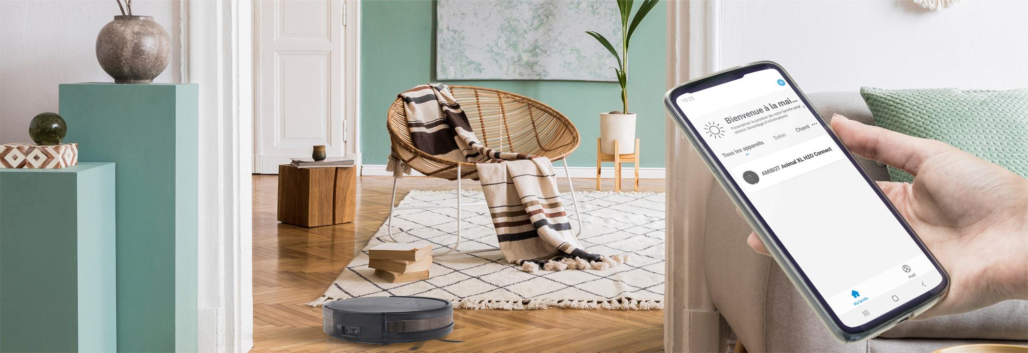 Robot aspirateur et laveur AMIBOT Animal XL H2O Connect