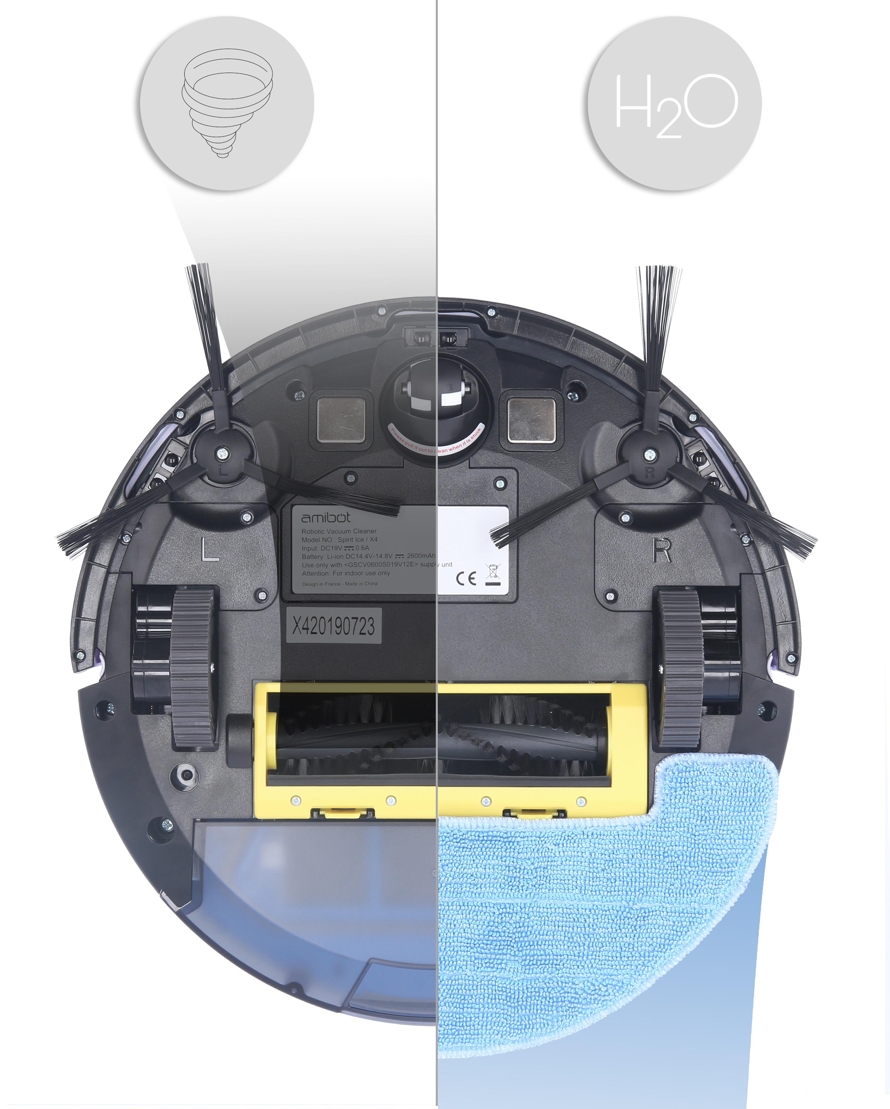 Robot aspirateur et laveur AMIBOT Spirit Ice H2O deux fonctions