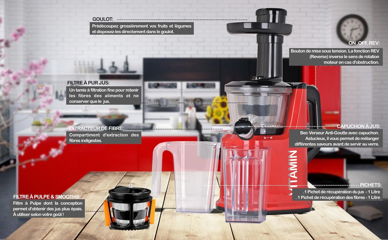 robot extracteur de jus vitamin smoothie. Black Bedroom Furniture Sets. Home Design Ideas