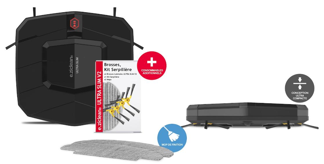 robot aspirateur e zicom ultra slim v2. Black Bedroom Furniture Sets. Home Design Ideas