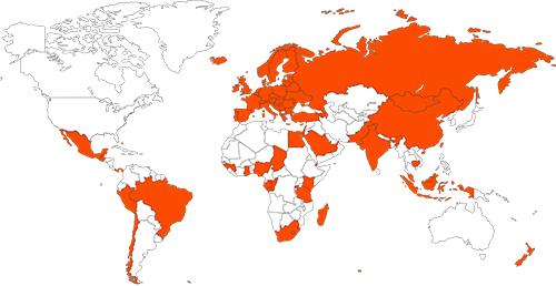 Couverture réseaux du WEENECT Cats dans plus de 100 pays