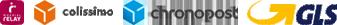 Livraison par Mondial Relay, GLS, Colissimo ou Chronopost
