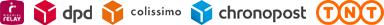 Livraison par Mondial Relay, Colissimo, Chronopost, DPD ou TNT